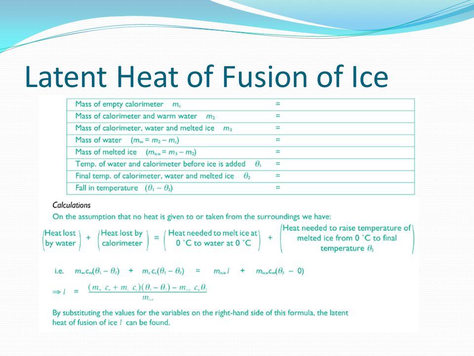 Specific Latent Heat Of Water Below Room Temperature