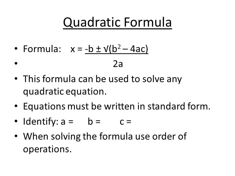 48 Quadratic Formula And Discriminant Ppt Video Online Download