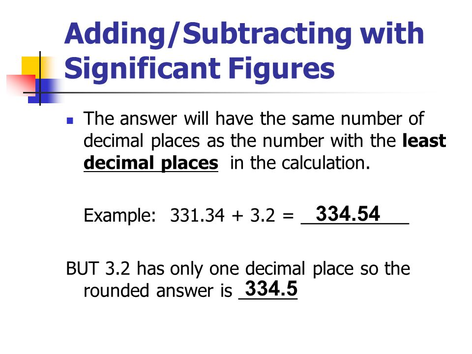 Adding/Subtracting with Significant Figures