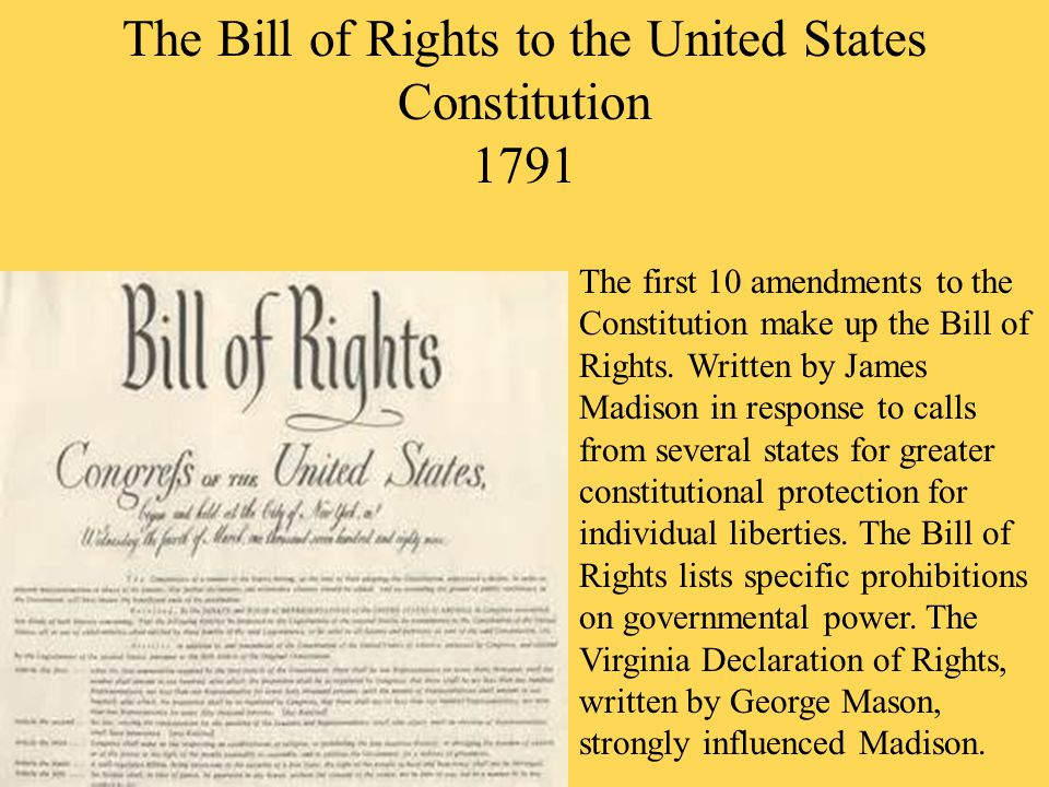 examples of bill of rights in the united states Find out more about the history of bill of rights, including videos, interesting articles a 1787 convention is called to draft a new legal system for the united states the english bill of rights anticipates some of the american bill's specific provisions-for example.