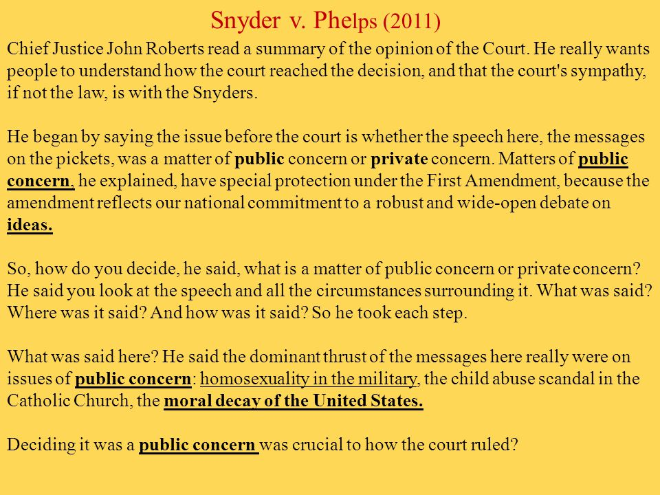 the key issues of the case snyder versus phelps Issuu is a digital publishing platform that makes it simple to publish  10/20/10 v1i39, author: south florida gay news,  the case, snyder v phelps,.
