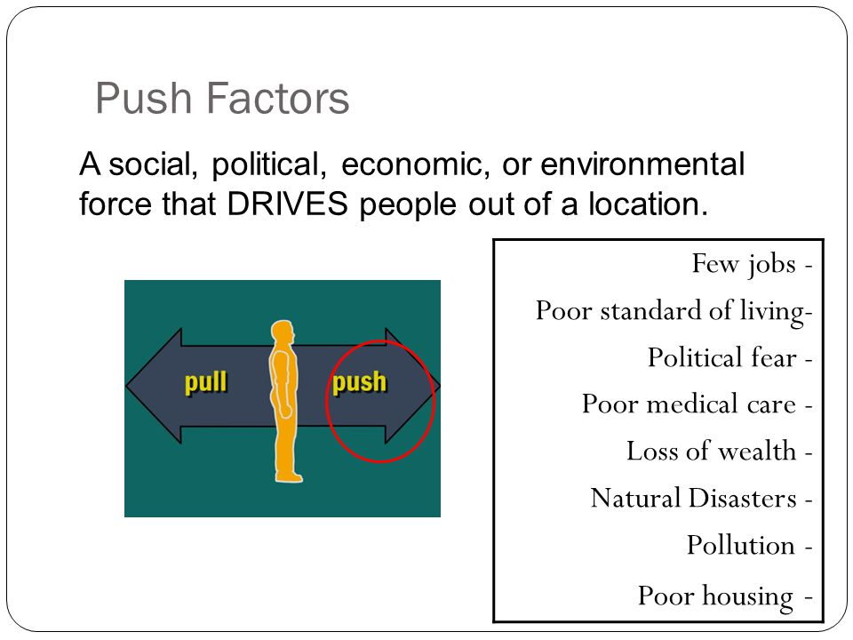 """the economic environmental and social push and pull factors of human migration Push factors come in many forms lack of jobs/poverty: economic factors provide the main motivation behind migration to a well-founded fear of being persecuted for reasons of race, religion, nationality, membership of a particular social group, or political opinion"""" (1951 convention relating to the status of refugees."""