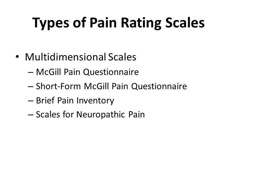 Types of Pain Rating Scales