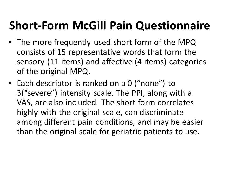 Short-Form McGill Pain Questionnaire