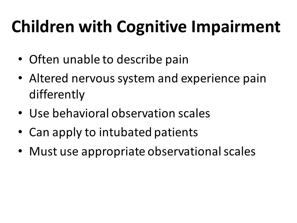Children with Cognitive Impairment