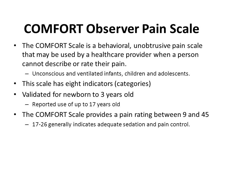 COMFORT Observer Pain Scale