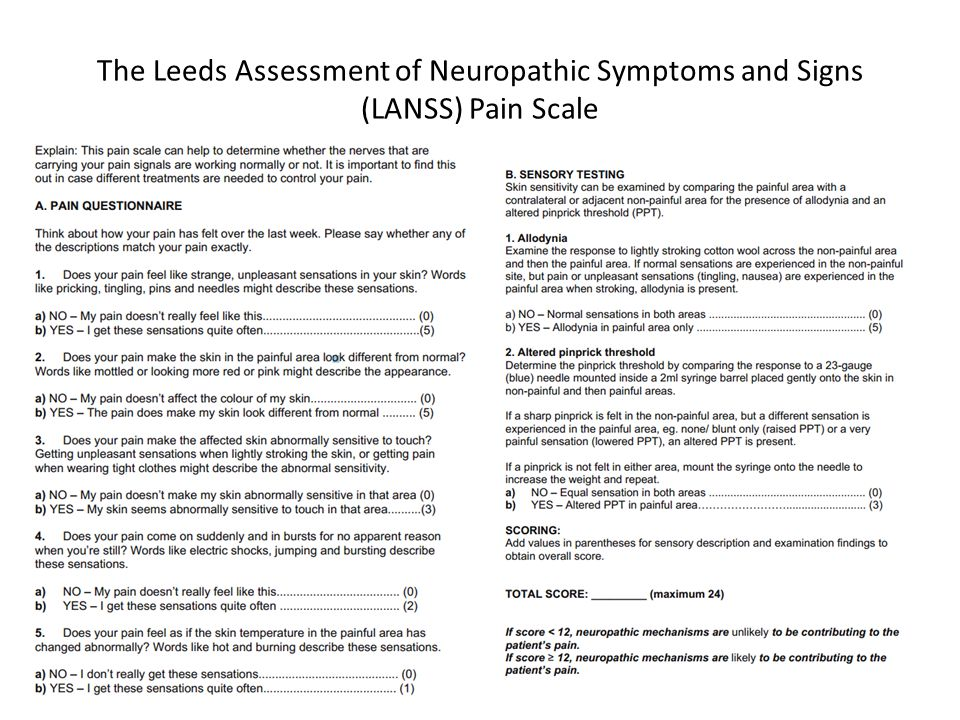 The Leeds Assessment of Neuropathic Symptoms and Signs (LANSS) Pain Scale