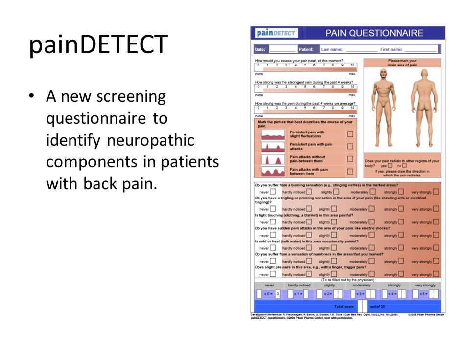 painDETECT A new screening questionnaire to identify neuropathic components in patients with back pain.
