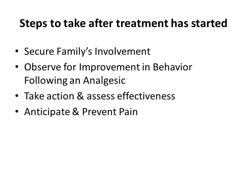 Steps to take after treatment has started