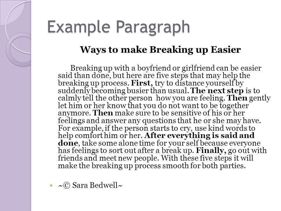 How to break up with someone essay