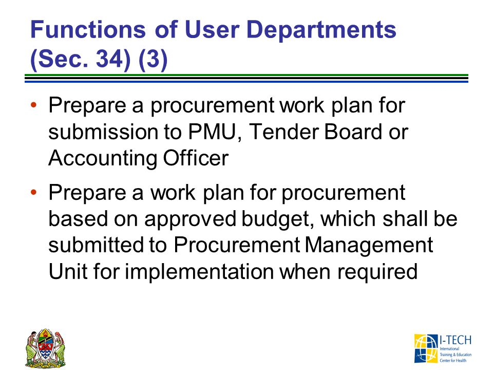 Functions of User Departments (Sec. 34) (3)