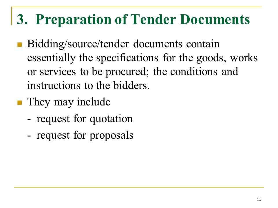 3. Preparation of Tender Documents