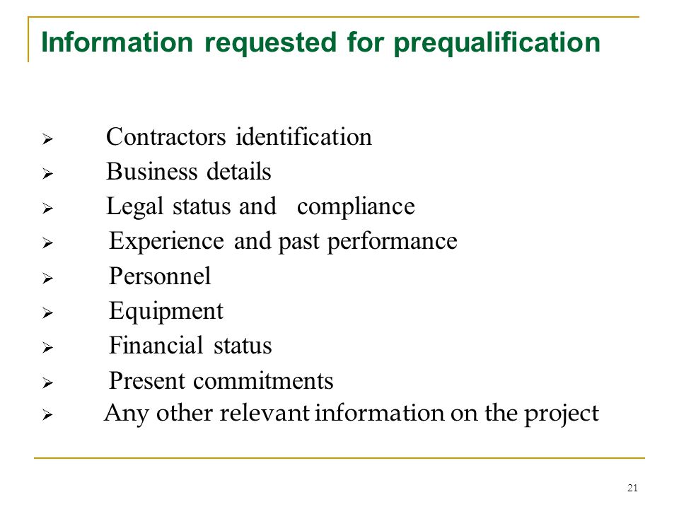 Information requested for prequalification