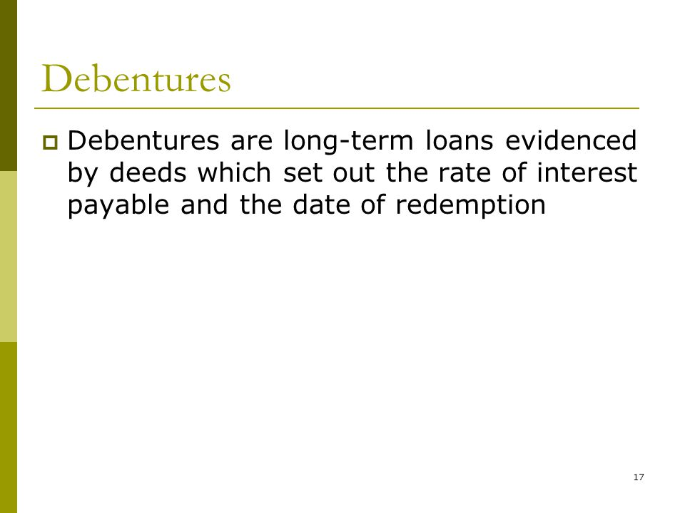 An analysis of debentures mortgages and long term loans