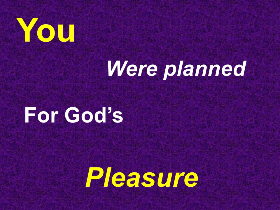 You Were planned For God's Pleasure