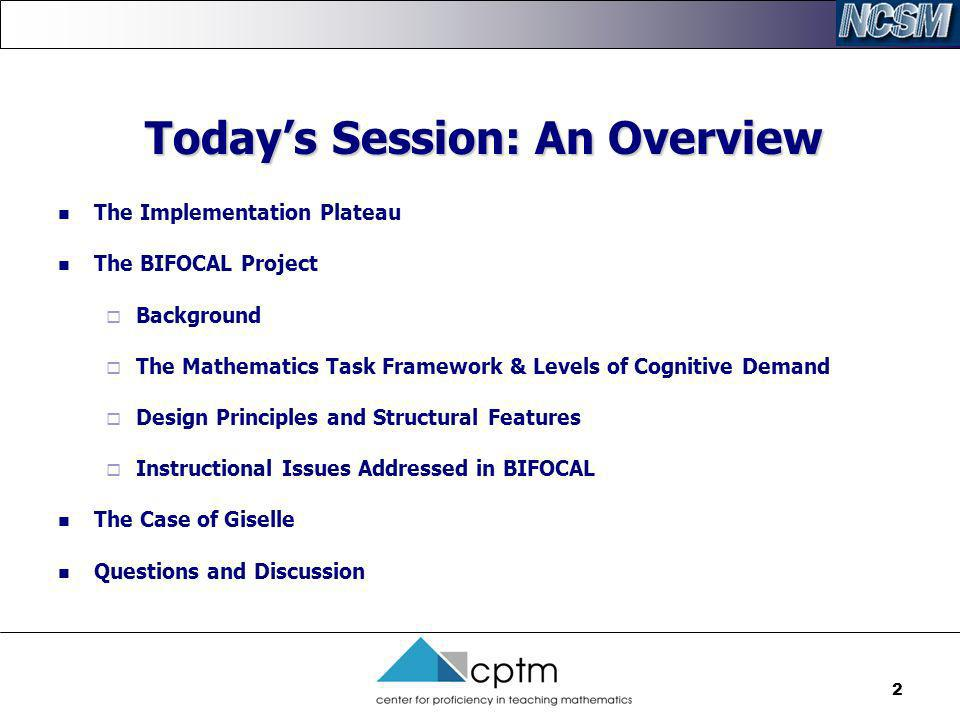 Today's Session: An Overview