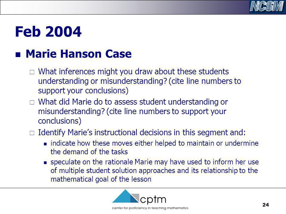 Feb 2004 Marie Hanson Case.
