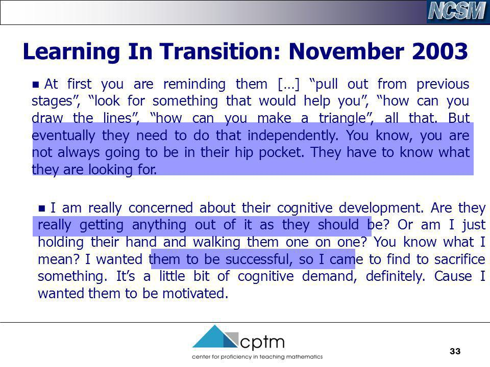 Learning In Transition: November 2003