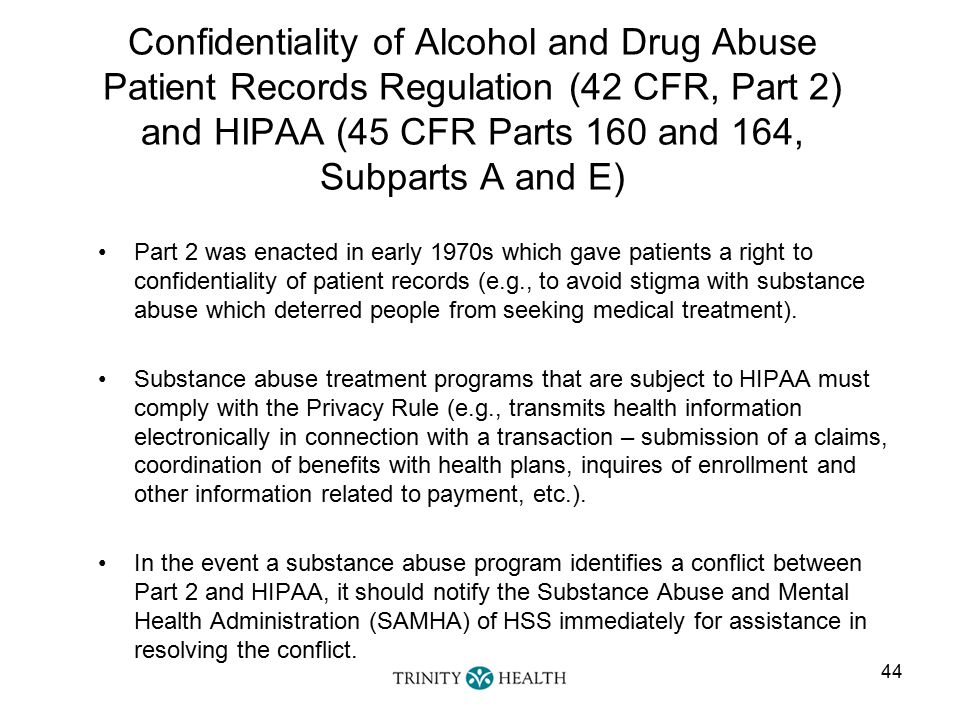 confidentiality and abuse The substance abuse and mental health services administration (samhsa) has issued several technical reports explaining the cfr confidentiality requirements.