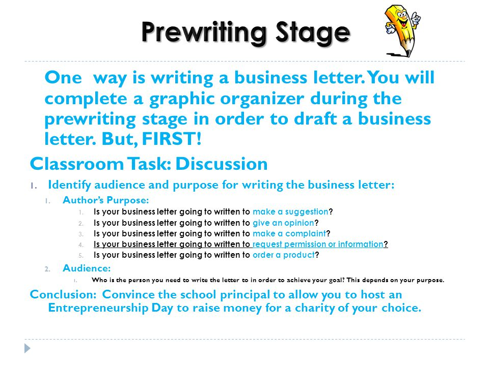3 Prewriting Stage One Way Is Writing A Business Letter