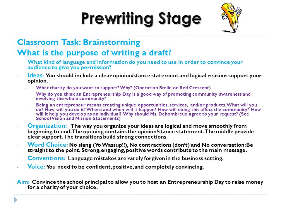 Prewriting Stage Classroom Task Brainstorming