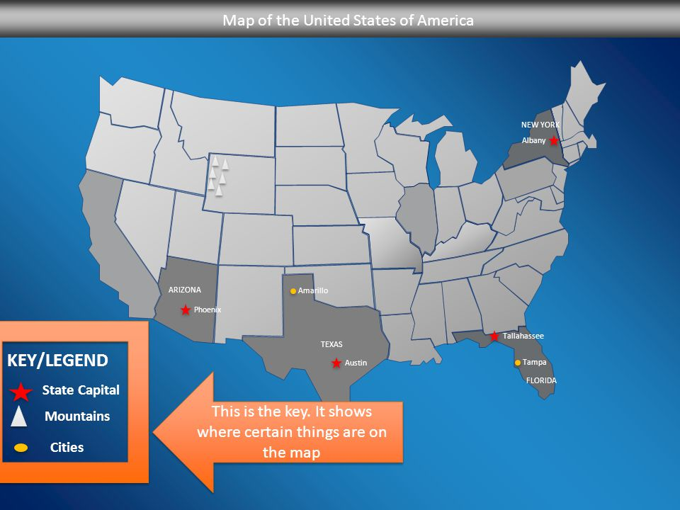 Key Legend Map Of The United States Of America