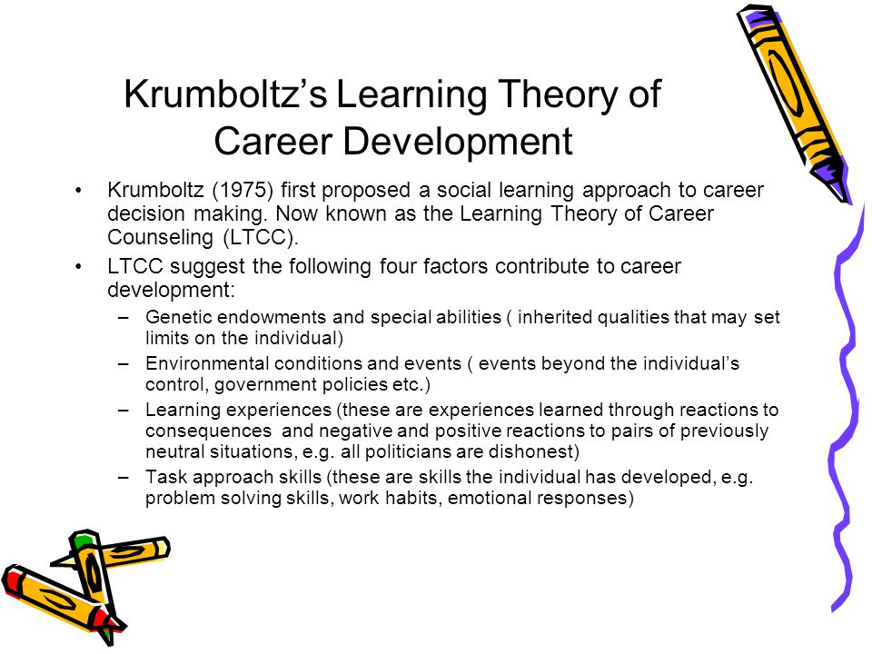 theory of career development essay Free essay: often times when we are at a lost for direction in our career development, we reach out to career counselors for instructions in our pursuit.