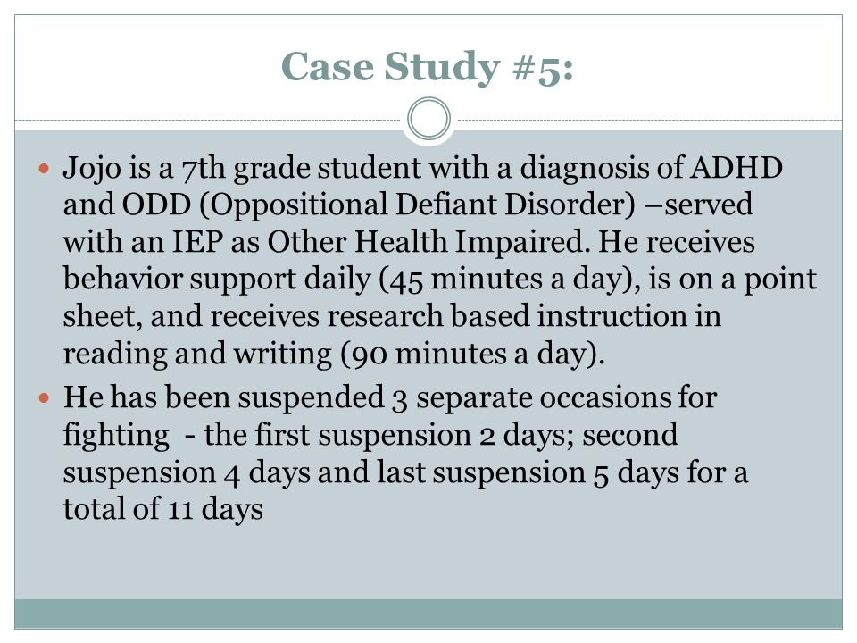case study of adhd student This case study thus seeks to answer one overarching research question: what is  the status  her skills to teach chinese immigrant students with adhd.