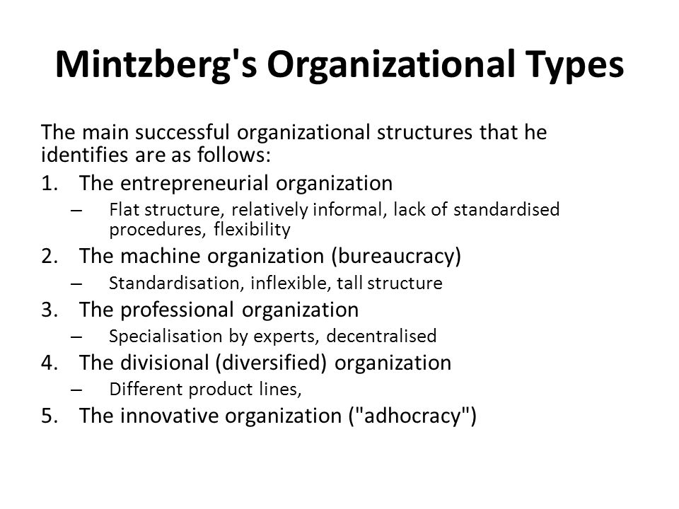 types of organizational structure pdf
