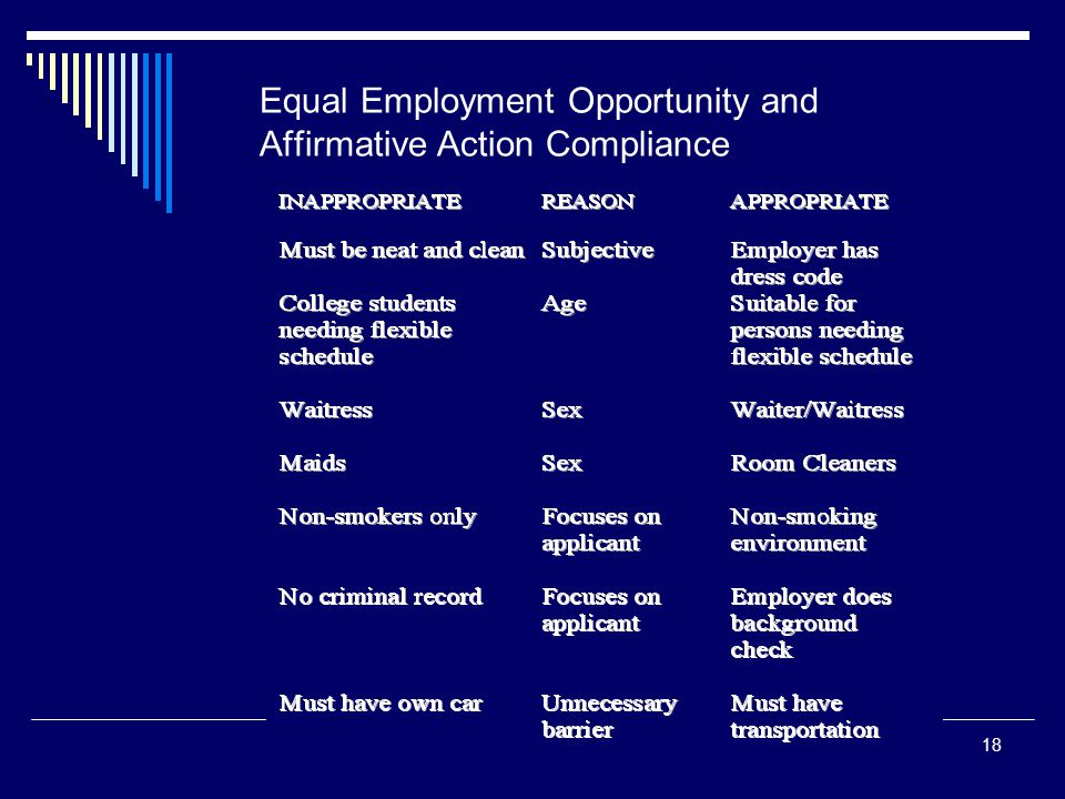affirmative action is equal opportunity Substantially equal work, in jobs that require equal skill, effort, and  contractors  take affirmative action to employ and advance in employment qualified.
