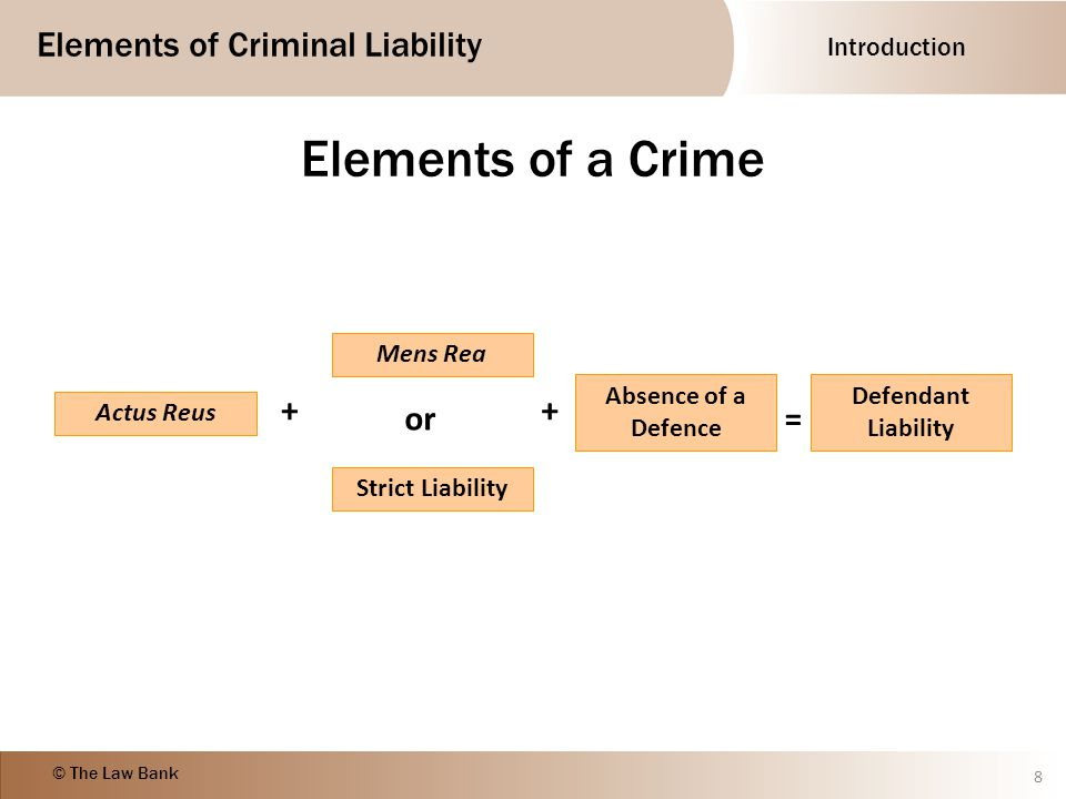 essential elements of a crime Chapter objectives after completion of this chapter, students should be able to: define and list the essential elements of a crime describe criminal procedure and the criminal trial define major white-collar crimes explain the constitutional safeguards provided to defendants in criminal cases define and apply ethical principles to business.