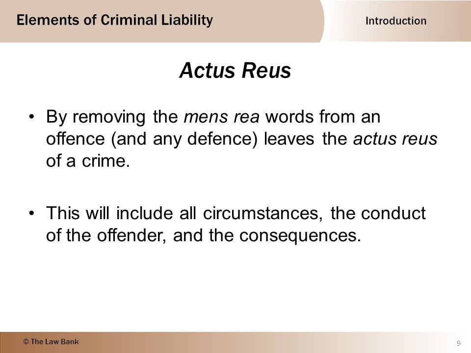 mens rea and actus reus of a crime Mens rea and actus reus are elements required for a crime to exist while mens rea involves the intent of the offender to commit the crime, actus reus involves the actual action of the offender.