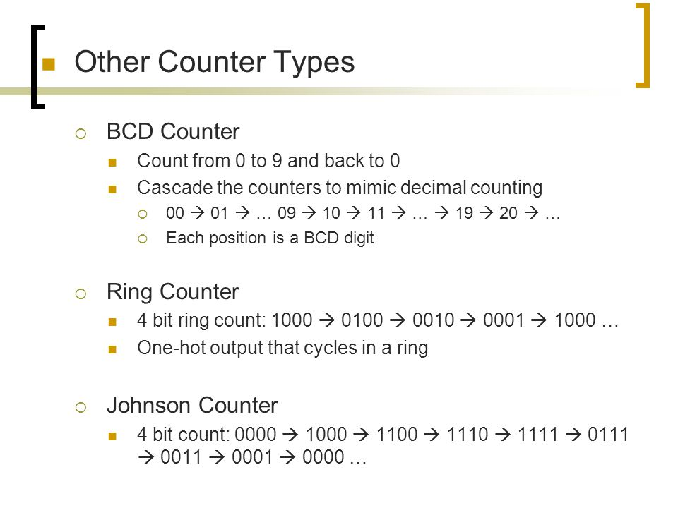 Other Counter Types BCD Counter Ring Counter Johnson Counter