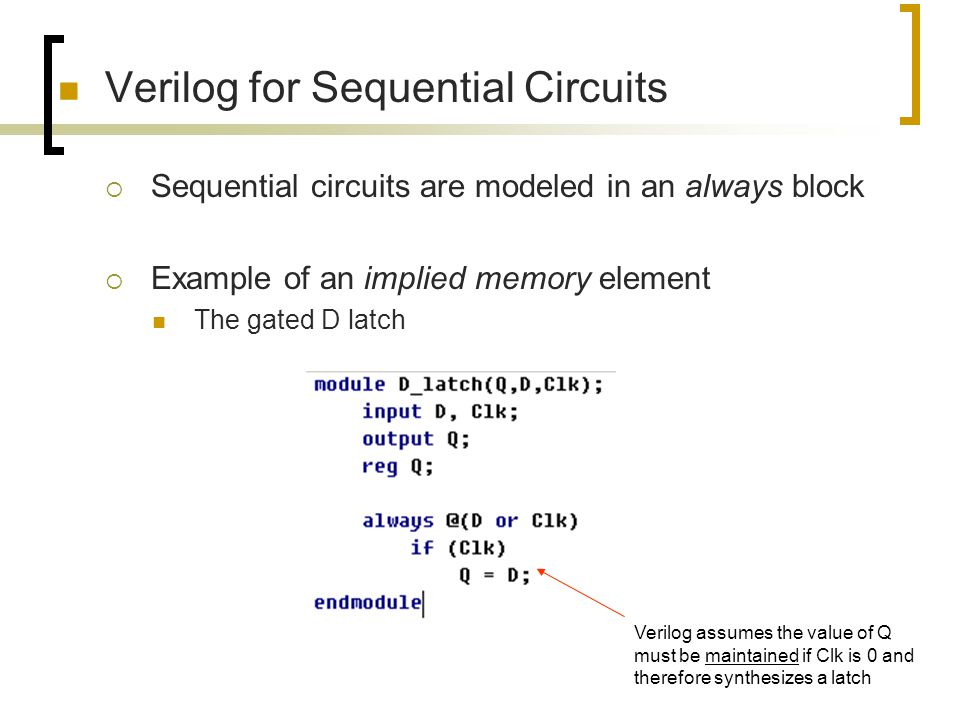 Verilog for Sequential Circuits