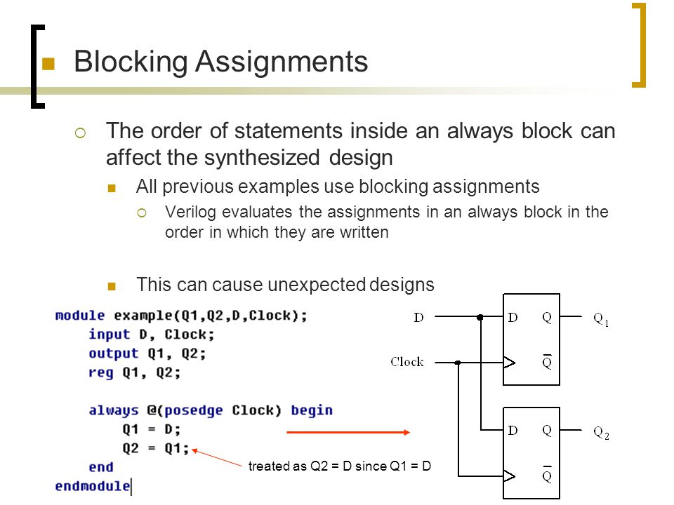 Blocking Assignments The order of statements inside an always block can affect the synthesized design.