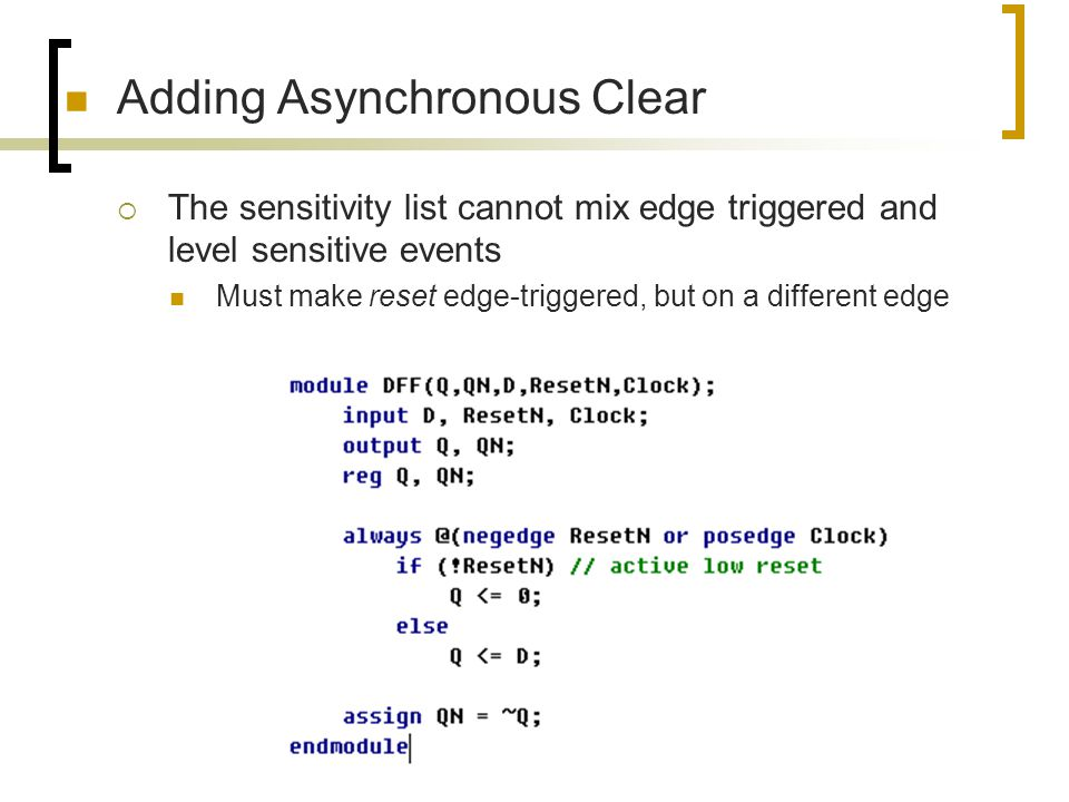 Adding Asynchronous Clear