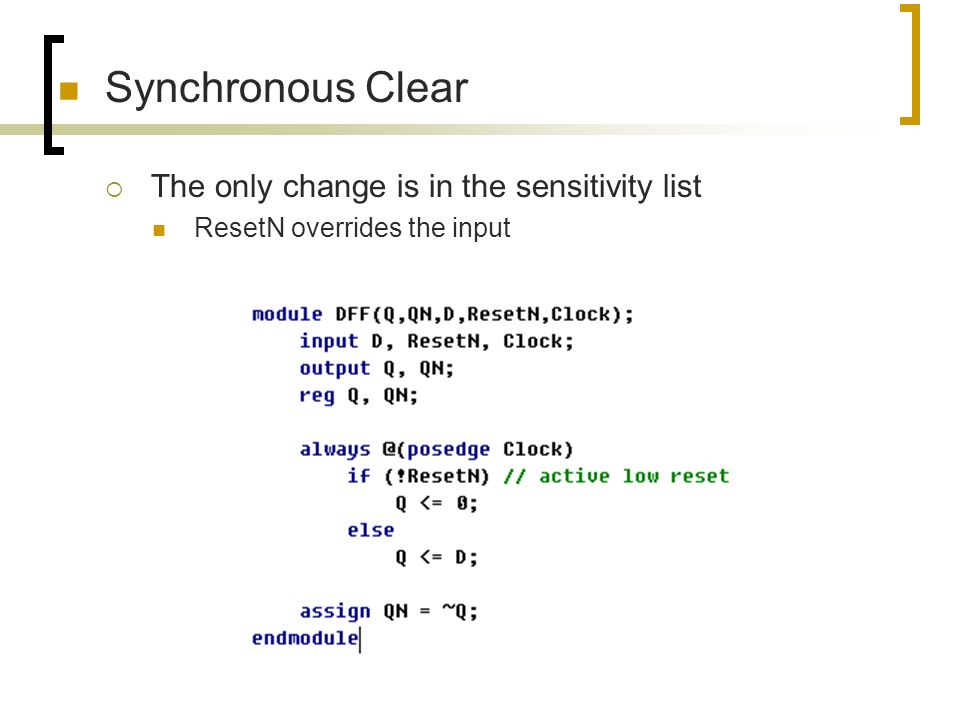 Synchronous Clear The only change is in the sensitivity list