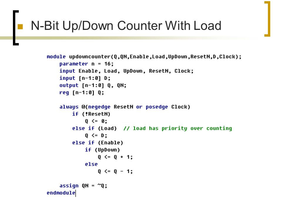 N-Bit Up/Down Counter With Load