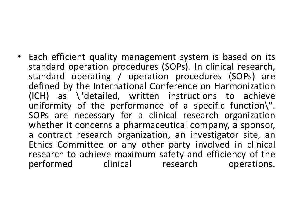 SOPs in Clinical Research   Applied Clinical Trials