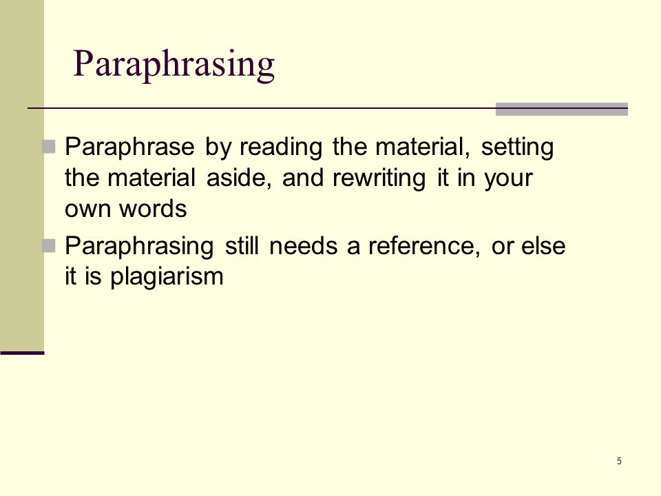 referencing and paraphrasing