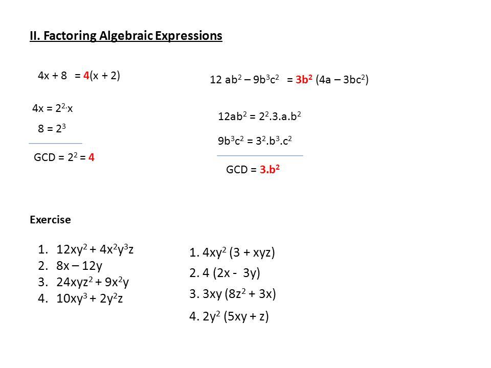 FACTORING ALGEBRAIC EXPRESSIONS - ppt download