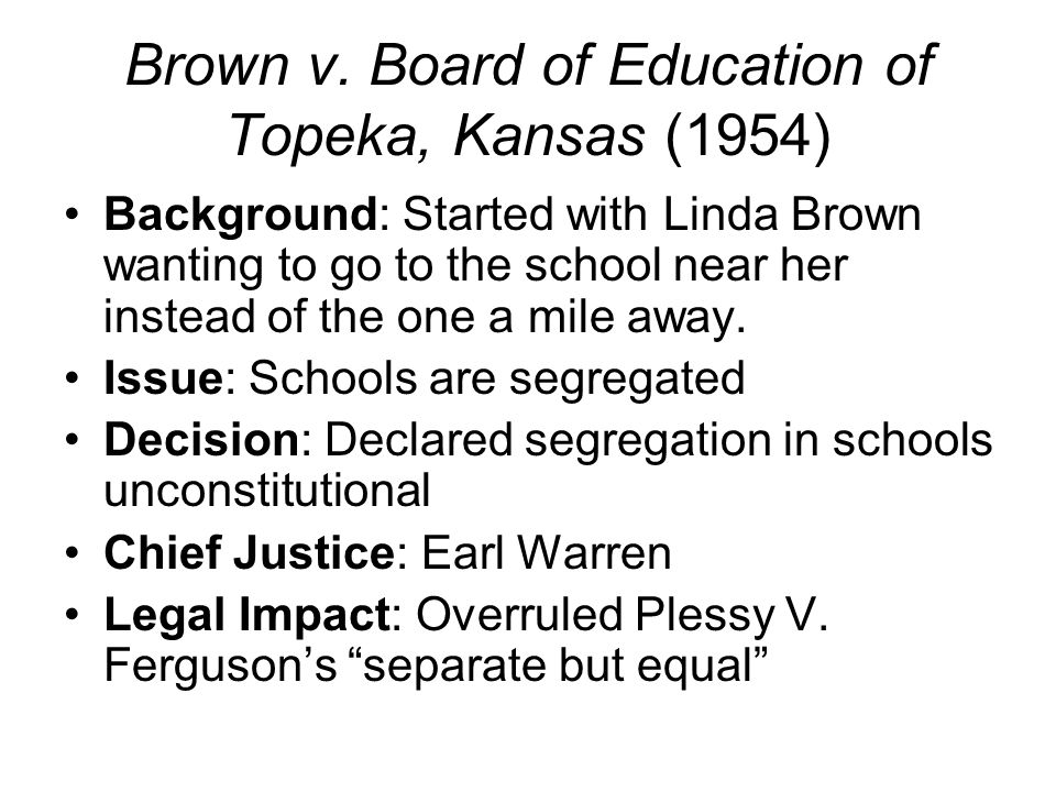 brown v board of education of topeka kansas 1954 Brown v board of education of topeka: sd-ks-0001 brown v board of education, 347 us 483 (1954) brown v board at 50.