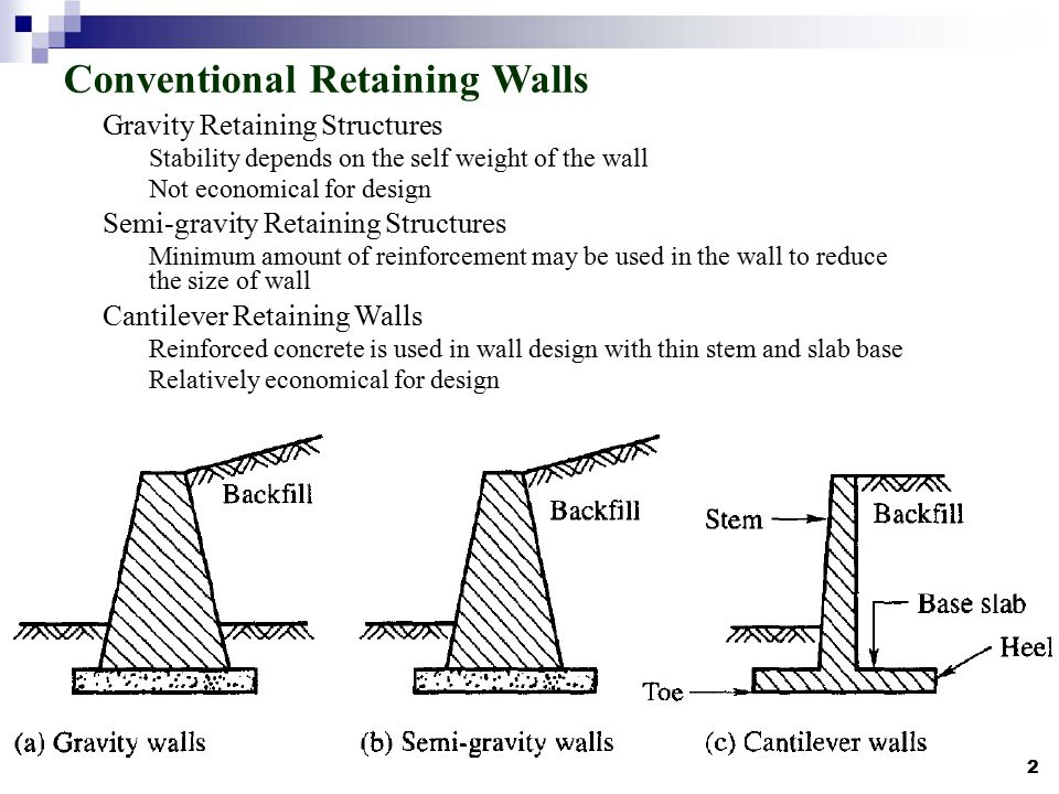 gravity wall design factor conventional retaining walls - Gravity Wall Design