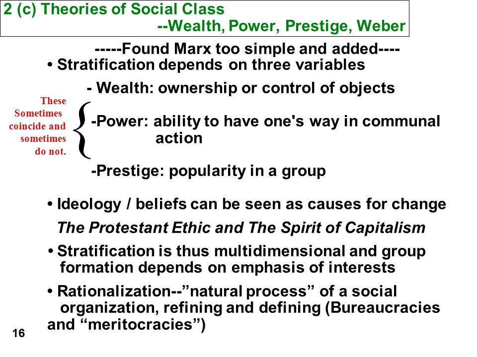 marx and weber social class Unit 3 lecture 5: social stratification (continued) the concept of social stratification  weber agreed with marx that economic factors are important in.
