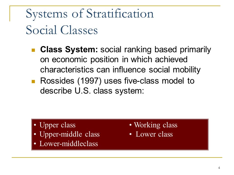 systems of social stratification Anne revillard introduction to sociology-04 1 its04 – social inequality (1): stratification and social class 1 stratification and inequality: definition.