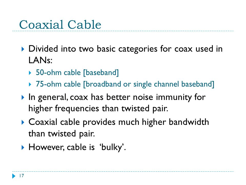 Coaxial Cable Divided into two basic categories for coax used in LANs: