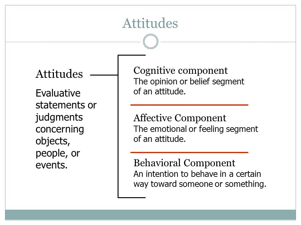 Attitudes Cognitive component The opinion or belief segment of an attitude. Attitudes.