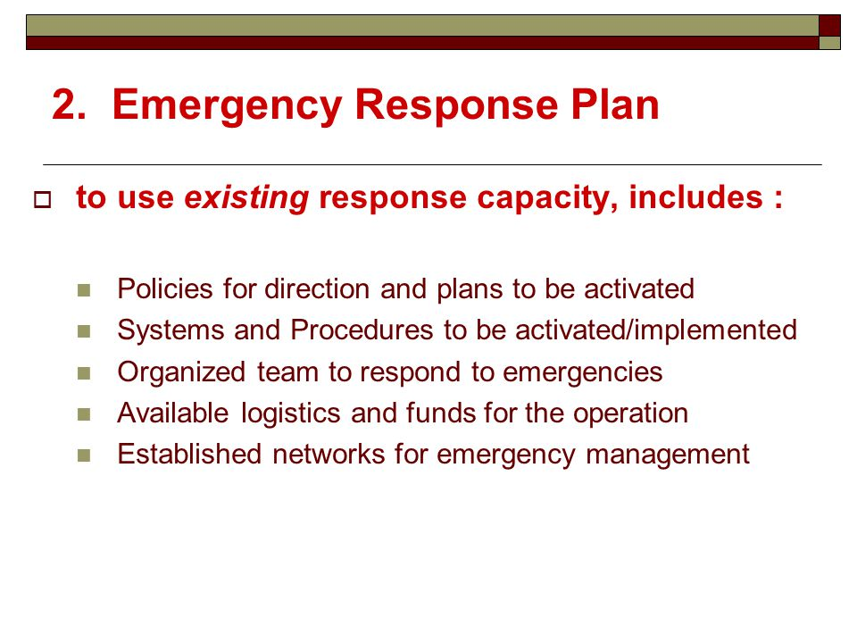 emergency response plan 2 essay View and download fema essays examples also discover topics, titles, outlines, thesis statements emergency response plan- non-government entities.