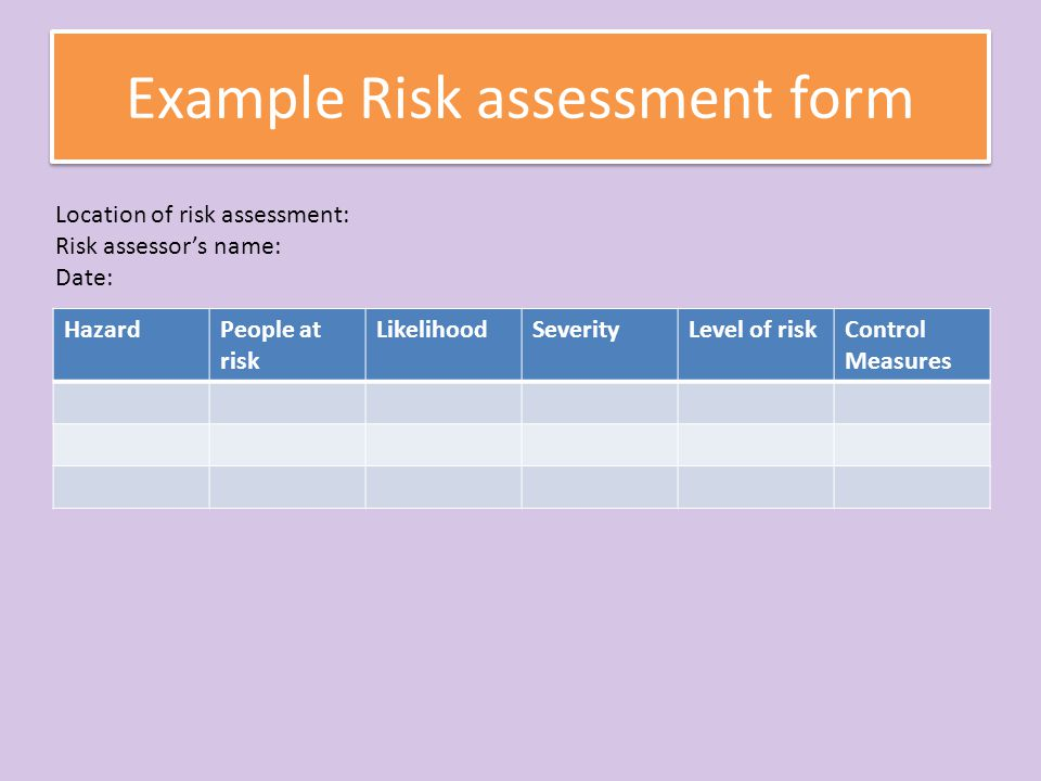 Risk Assessment P M D  Ppt Download