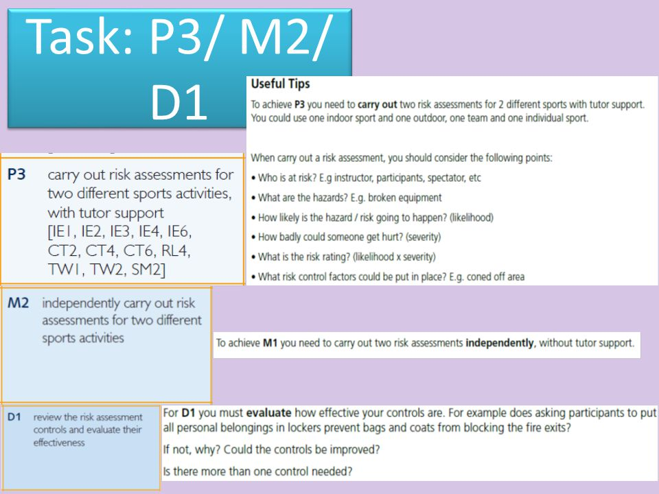 P3 the risk assessment that was